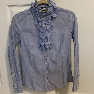 J Crew Ruffle Button Down Shirt Blouse Top
